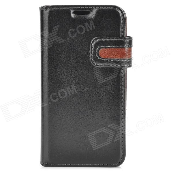 Protective PU Leather Case for Samsung Galaxy S4 Mini i9190 - Black + Brown 8x magnification lens plastic back case for samsung galaxy s4 mini i9190 black silver