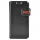 Protective PU Leather Case for Samsung Galaxy S4 Mini i9190 - Black + Brown