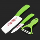 KINGDOUBLE Flower Pattern Zirconia Ceramics Fruit Knife + Chef Knife + Peeler Set - White + Green