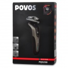 POVOS PQ9200 Electric 3-Blade-Head 360 Degree Rotating Shaver Razor Set - Black + Grey