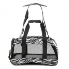Zebra-stripe Pattern Canvas Pet Dog & Cat Outdoor Travel Carrying Bag - White + Black
