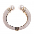 Stylish Ellipse Style Zinc Alloy Bracelet w/ Shiny Rhinestone Pearl - Cracker Khaki + Golden + Ivory