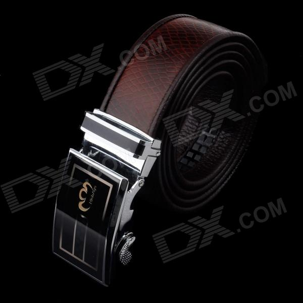 Rich Age Fashionable Leather Waist Belt w/ Zinc Alloy Buckle for Men - Grey pouchkan stylish cow leather men s belt with zinc alloy buckle black