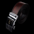 Rich Age Fashionable Leather Waist Belt w/ Zinc Alloy Buckle for Men - Grey