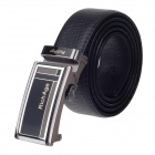 Rich Age Fashion Split Leather Waist Belt w/ Zinc Alloy Buckle for Men - Black + Silver
