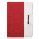 ENKAY ENK-3138 Jean Style PU Leather Stand Case for Ipad 2 / 3 / 4 - Red + White