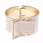 Fashionable Simple Belt Style Zinc Alloy Wide Bracelet w/ Shiny Rhinestone - Cracker Khaki + Golden