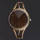 Circular Rhinestone Quartz Bracelet Quartz Analog Wrist Watch for Women - Coffee Golden (1 x 377)