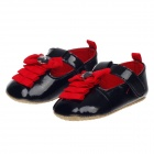 Cute Bowknot and Rhinestone Decorated PU Velcro Baby Shoes - Black + Red (9~12 Months / Pair)