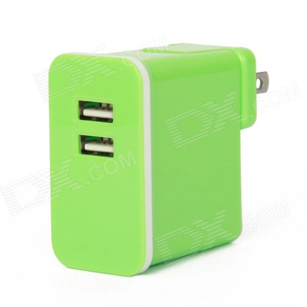E-103 Dual USB AC Power Charger Adapter for Iphone / Ipad + More - Green (US Plug / AC 100~240V) dual usb ac power charger adapter for iphone ipad white ac 100 240 eu plug