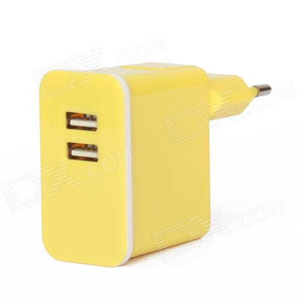 E-119 Dual USB AC Power Charger Adapter for Ipad / Iphone + More - Yellow (100~240V / EU Plug) dual usb ac power charger adapter for iphone ipad white ac 100 240 eu plug
