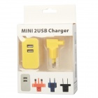 E-119 Dual USB AC Power Charger Adapter for Ipad / Iphone + More - Yellow (100~240V / EU Plug)