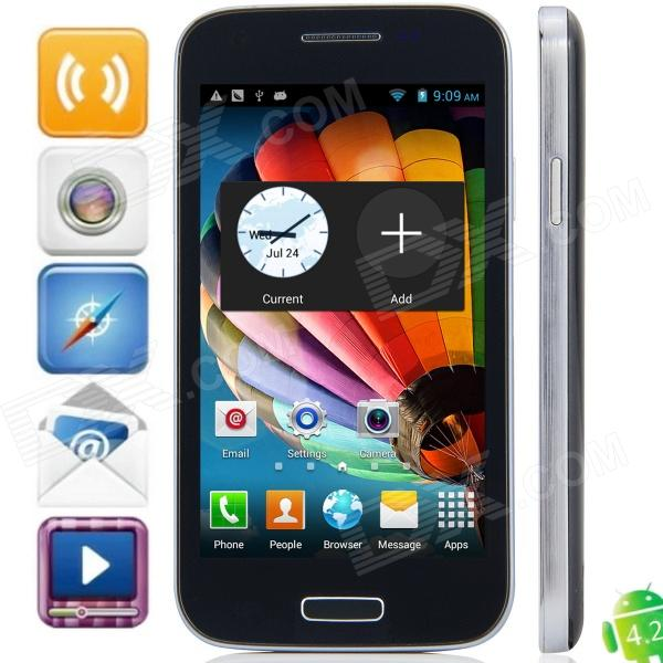 F9192 MTK6572 Dual-Core Android 4.2.2 WCDMA Bar Phone w/ 4.3 Capacitive, FM, Wi-Fi and GPS - Grey jiake f1w 5 0inch capacitive touch screen mtk6572 dual core 1 2ghz smartphone 512mb 4gb 2 0mp 0 3mp android 4 2 os 3g gps with protective case black
