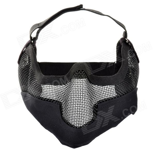 SW2052 Outdoor War Games Steel Wire Mesh + Nylon Protective Facial Mask - Black