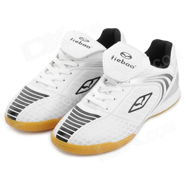 Tiebao 1220 Indoor Football Soccer Shoes - White + Black (Size 43) tiebao e1018c professional kids indoor football boots turf racing soccer boots training football shoes