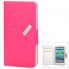 Jilis-m Universal Protective PU Leather Flip-Open Case for Samsung i9300 / i9500 + More - Deep Pink