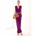 "YLY-DXH406-8811# Sexy Deep ""V"" Collar Siamese Trousers - Purple (L)"