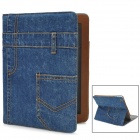 Cool Denim Fabric + PU Leather Protective Case for Ipad 2 / 3 / 4 - Blue