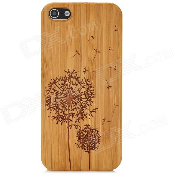 Dandelion Pattern Protective Plastic + Bamboo Case for Iphone 5