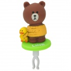Universal Cartoon Bear Style Audio Jack Anti-Dust Plug for Cell Phone - Brown + Yellow (3.5MM Plug)