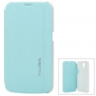 Protective PU Leather + PC Flip-Open Case for Samsung Galaxy Mega 6.3 / i9200 - Light Blue + White