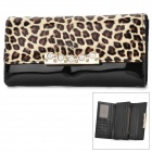723 Fashionable Leopard Pattern PU Leather Hand Bag Purse w/ Card Slot - Black + Brown