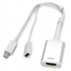 HDMI to Micro 11pin Male + Female Connecting Cable for Samsung i9500 / i9300 / N7100 - White (20m)