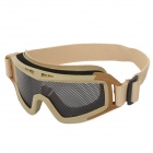 SW2022 Outdoor Games Protective Anti-shock Plastic + Steel Mesh + Sponge Goggles - Black + Beige