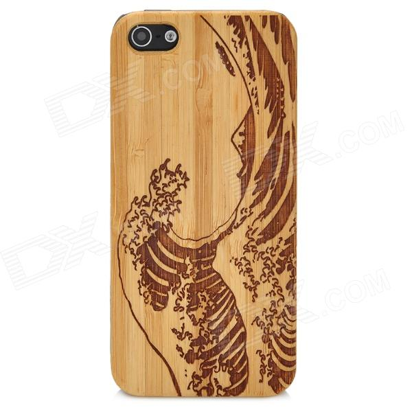 Sea Wave Style Protective Bamboo + Plastic Back Case for Iphone 5 - Brown