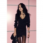 Sexy Deep V Collar Tight Fashionable Long Sleeve Cotton Short Dress - Black