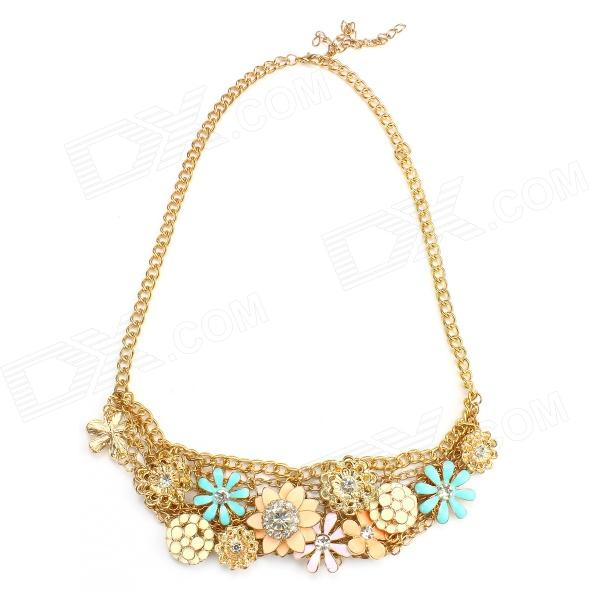eQute PPEW2C3 Gold Plated Luxurious Cute Multi Flower Statement Necklace for Women - Multicolored fenlu fashionable fluorescent color flower women s necklace multicolored