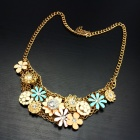 eQute PPEW2C3 Gold Plated Luxurious Cute Multi Flower Statement Necklace for Women - Multicolored