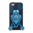 Skeleton Style Protective Silicone Case for Iphone 5 - Blue + Black
