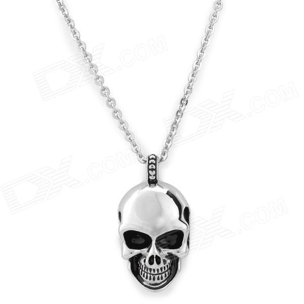 Men's Stylish Skull Pendant Titanium Steel Necklace - Silver old antique bronze doctor who theme quartz pendant pocket watch with chain necklace free shipping