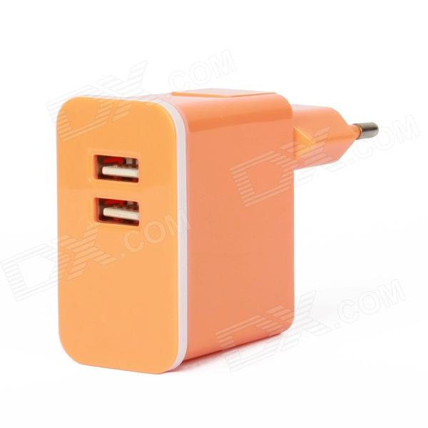 E-119 Dual USB AC Power Charger Adapter for Ipad / Iphone + More - Orange (100~240V / EU Plug) dual usb ac power charger adapter for iphone ipad white ac 100 240 eu plug