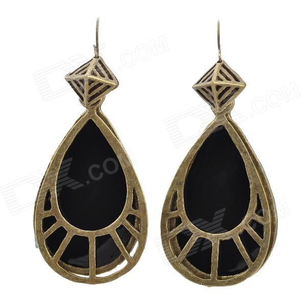 Fashionable Water Drop Shaped Zinc Alloy + Crystal Earring - Black + Copper (2 PCS) - DXEarrings<br>Brand N/A Quantity 2 Piece Color Black + copper Material Zinc Alloy + Crystal Gender Women Suitable for Adults Length 6.4 cm Width 2.5 cm Features Fashionable and unique water drop style decorate your ears; Makes you charming and attractive Packing List 2 x Earrings<br>