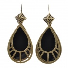 Fashionable Water Drop Shaped Zinc Alloy + Crystal Earring - Black + Copper (2 PCS)
