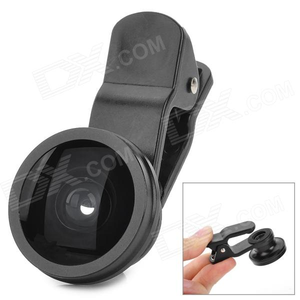 LIEQI Handy 185 Degree Fisheye Wide Angle Lens w/ Clip for Cellphone / Tablet PC - Black 100x zoom led digital microscope lens case w clip for iphone ipad cellphone tablet black