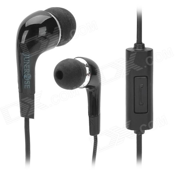JUNEROSE JR-i506 In-Ear Stereo Earphone w/ Microphone for Iphone / HTC / Samsung - Black