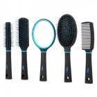 Professional Massage Combs + Handheld Mirror Set - Black + Blue