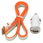 Orange + Grün - Car Charger + USB 30-Pin-Daten / Ladekabel für iPhone 3GS / 4 / 4S / iPad