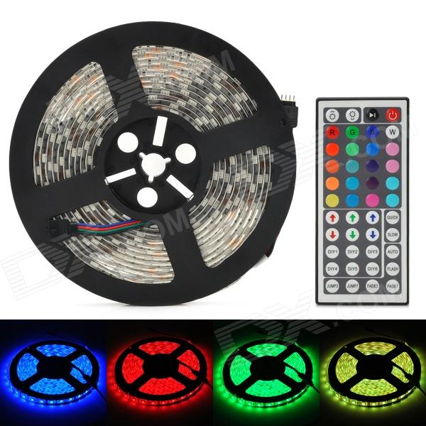 Waterproof 72W 4300lm 300-5050 SMD LED RGB Light Flexible Strip w/ 44-Key Controller (5m / DC 12V) zdm waterproof 72w 200lm 470nm 300 smd 5050 led blue light strip white grey dc 12v 5m