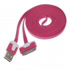 Flat 30-Pin Male to USB Male Data Sync / Charging Cable for iPhone 4 / 4S / iPad 2 / 3 - Deep Pink