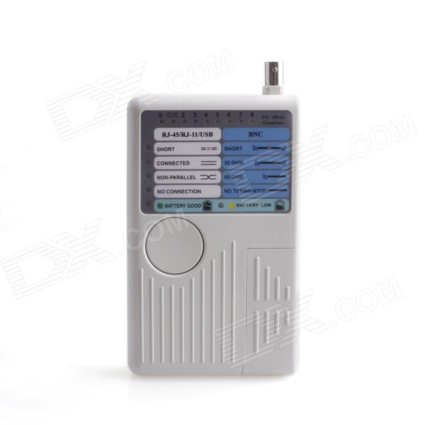 JD 4-in-1 Multifunction Network BNC + Network RJ-45 + Telephone RJ-11 + USB Tester - White (1 x 9V)