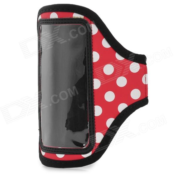 Sports Arm Band for Samsung Galaxy S4 Mini i9190 - White Dot + Red + Black sunshine sports velcro protective arm bag for samsung galaxy s5 i9600 red black