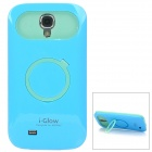 Protective Glow-in-the-Dark Plastic Back Case w/ Finger Ring Stand for Samsung I9500 - Blue