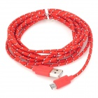 MICRO-5 USB 2.0 to Micro USB Data / Charging Nylon Cable – Red (3m)