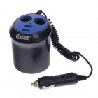 WF-0309A 1-to-2 Car Cigarette Lighter Power Splitter Adapter w/ Dual-USB Output - Black + Blue
