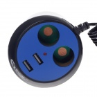 1-to-2 Car Power Splitter Adapter w/ Dual-USB Output - Black + Blue