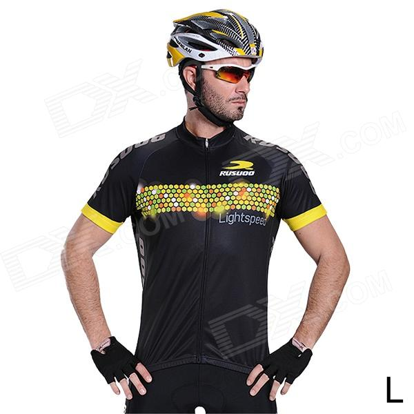 RUSUOO R10002 Men's  Fashionable Cooldry Short Sleeve Cycling Blazer  - Black + Yellow (L)